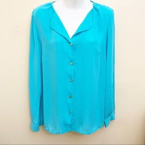The Limited Button Down Blouse Aqua Medium